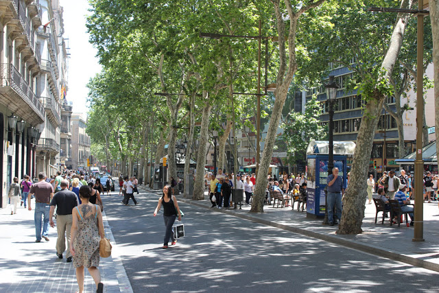the famous La Rambla in the heart of Barcelona