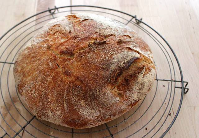 a fresh loaf of bread cools after the Baking from